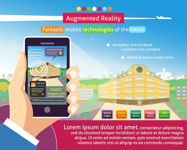 Augmented reality poster Kostenlosen Vektoren