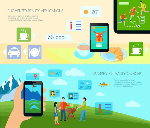 Augmented reality und horizontale banner der technologie gesetzt Kostenlosen Vektoren