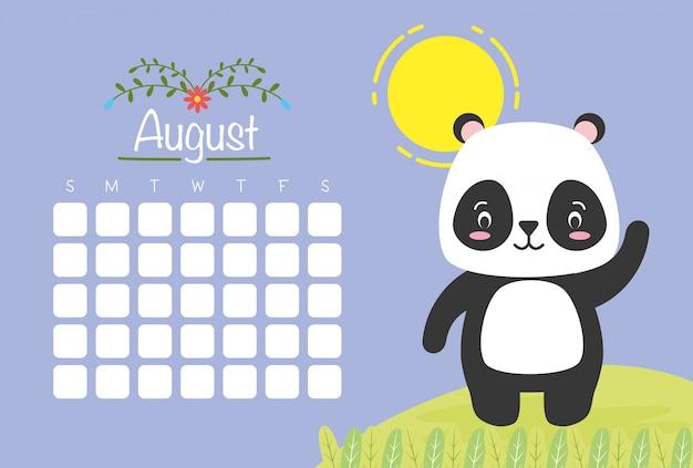 August kalender mit niedlichen panda, flachen stil Kostenlosen Vektoren