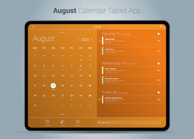 August kalender tablet app-oberfläche Premium Vektoren