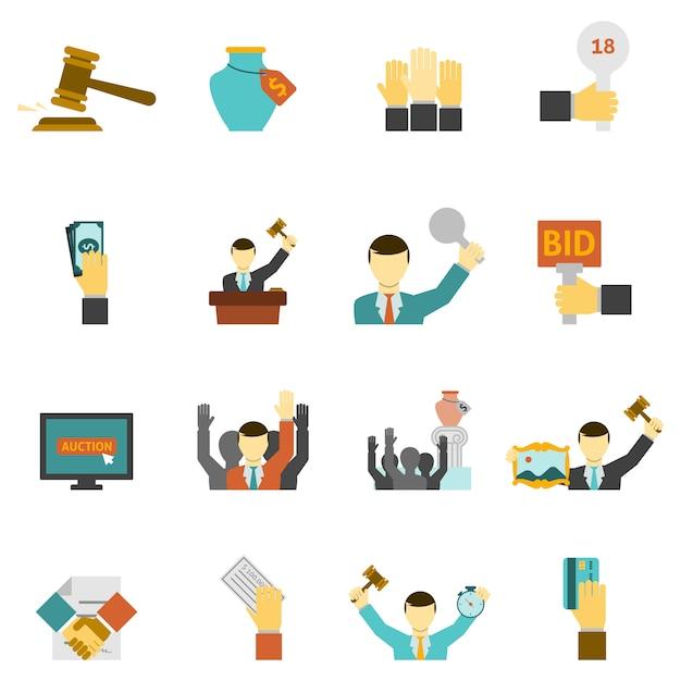 Auktions-icons set Kostenlosen Vektoren