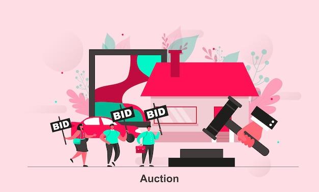 Auktionswebkonzeptdesign im flachen stil mit winzigen personencharakteren Premium Vektoren