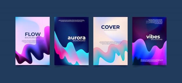 Aurora abstrakte wellenflüssigkeit. Premium Vektoren