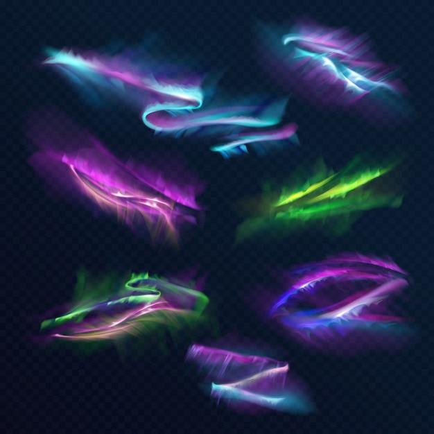 Aurora borealis polar lights illustration des nördlichen oder südlichen lichts im nachthimmel. Kostenlosen Vektoren