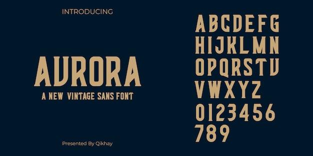 Aurora vintage schriftart Premium Vektoren