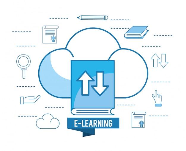 Ausbildungsbuch mit wolkenlast und bleistift Premium Vektoren