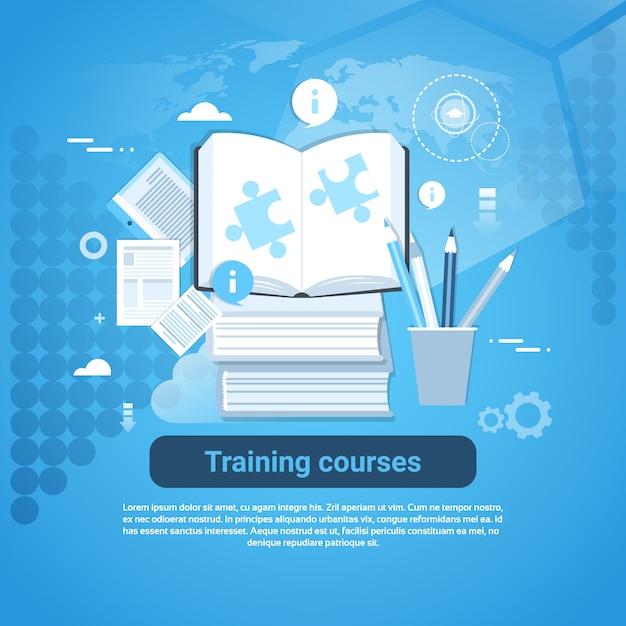 Ausbildungskurse bildungskonzept web banner Premium Vektoren