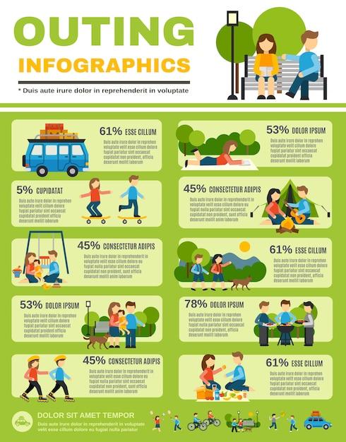 Ausflug infografiken set Kostenlosen Vektoren