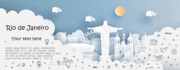 Ausflug- und reisewerbungsschablone mit reise nach rio de janeiro, brasilien Premium Vektoren