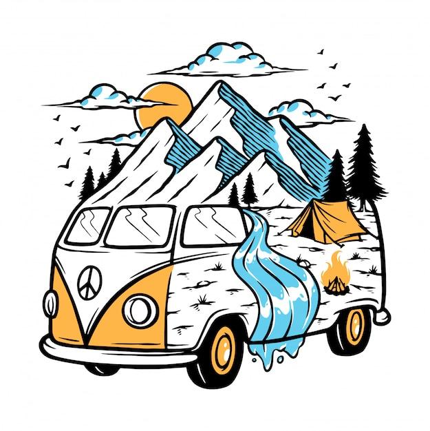 Ausflug zum berg mit meiner autoillustration Premium Vektoren