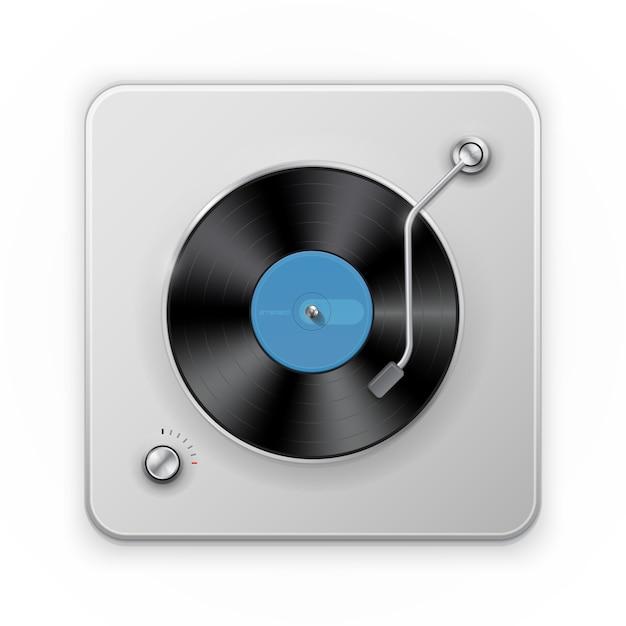 Ausführliche ikone des retro- vinil rekordspielers Premium Vektoren