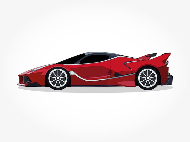 Ausführliche karosserie und felgen der autokarikaturillustration Premium Vektoren