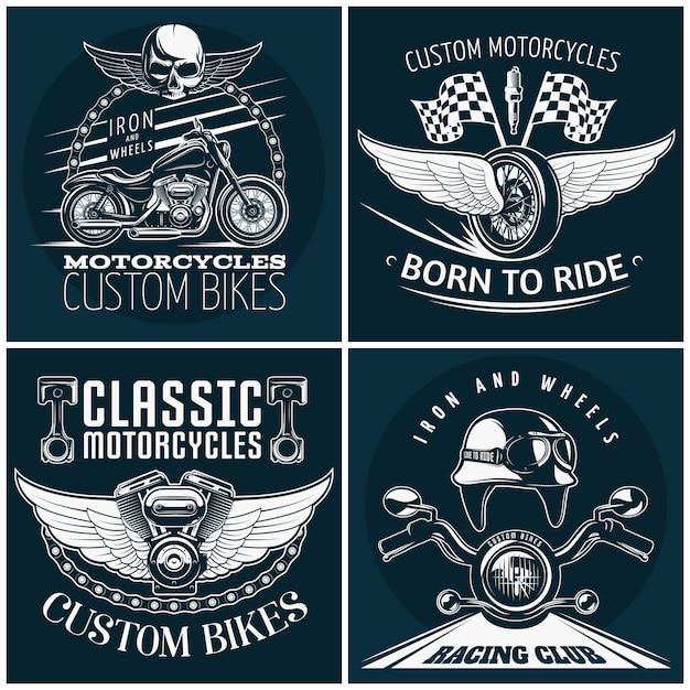 Ausführliches emblemset des motorrads mit beschreibungen der benutzerdefinierten fahrräder, die geboren wurden, um klassische motorräder und vektorillustration des rennclubs zu fahren Kostenlosen Vektoren