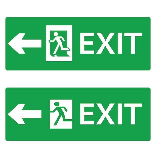 Ausgang, notausgang symbol oder hinweisschilder für die navigation Premium Vektoren