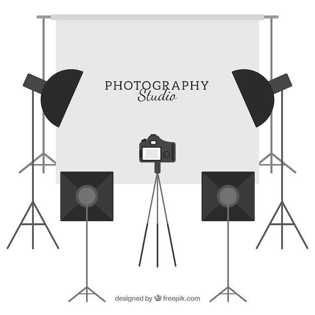 Ausgerüstet fotostudio Kostenlosen Vektoren