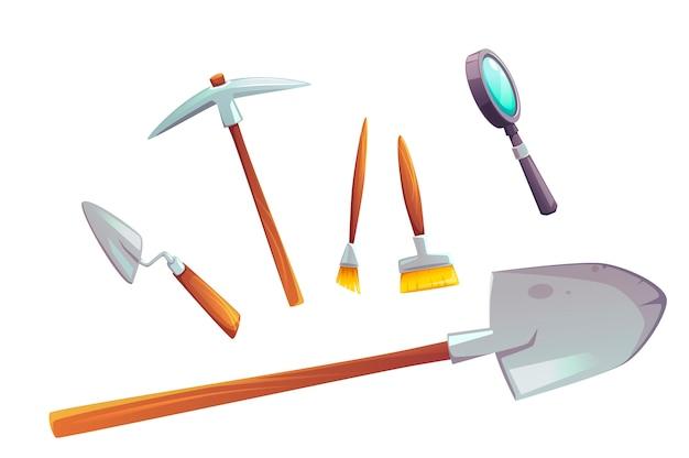 Ausgrabungswerkzeugsatz der karikaturillustration Kostenlosen Vektoren
