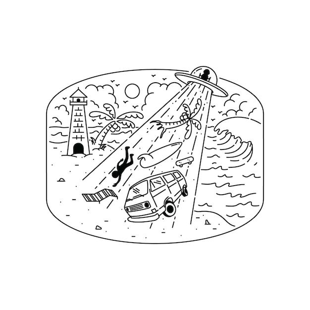 Ausländische invasions-sommer-strand-grafik-illustration Premium Vektoren