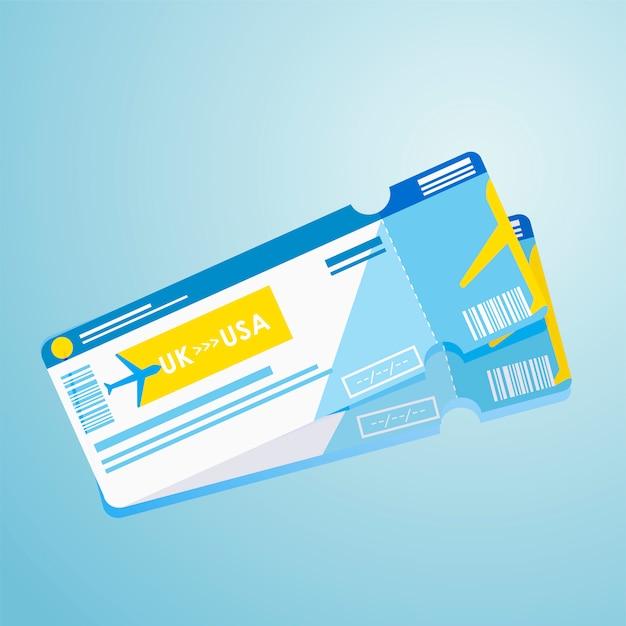 Ausländischer pass zwei flugtickets Kostenlosen Vektoren
