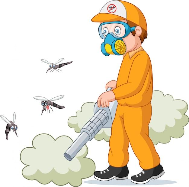Ausrottungsmann, der einen moskito tötet Premium Vektoren
