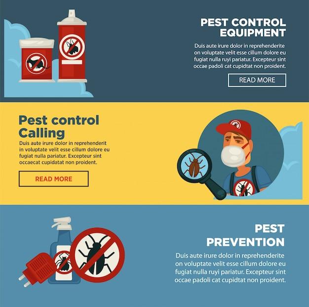 Ausrottungsschädlingsbekämpfungsdienst-fahnenschablone der hygienischen inländischen ausrottungsdesinfektionsausrüstung. Premium Vektoren