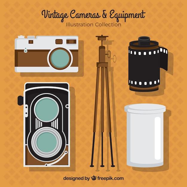 Ausrüstung von vintage-kamera Kostenlosen Vektoren