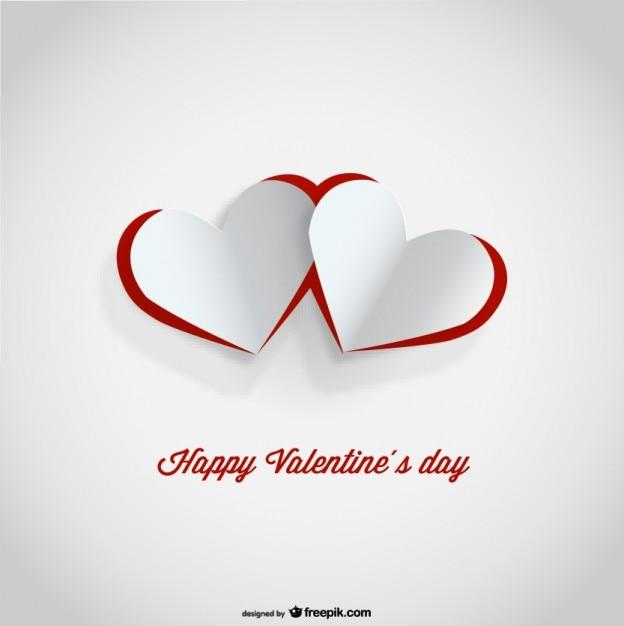 Ausschnitt Papier Herzen Valentinstag Karte Design Kostenlose Vektoren