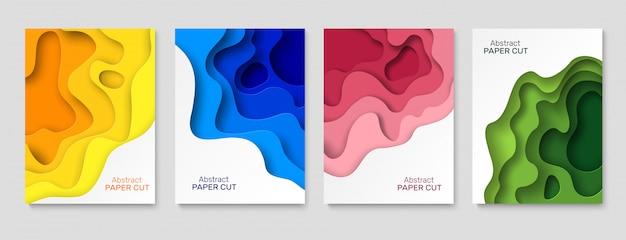 Ausschnitt papier hintergrund. abstrakte papierschnittformen, bunte gekrümmte schichten mit schatten. schneidepapiere kunst kreative tapete Premium Vektoren