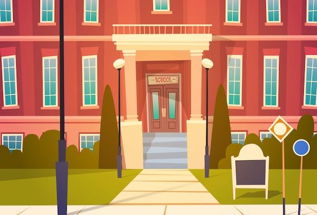 Außenansicht des modernen schulgebäudes willkommen zurück in der schule Premium Vektoren