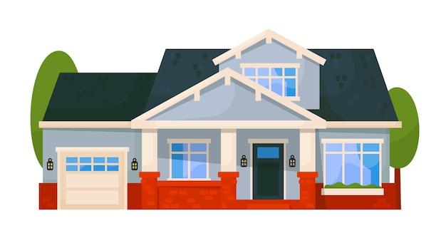 Außenansicht des wohnhauses lokalisiert auf weißem hintergrund Premium Vektoren