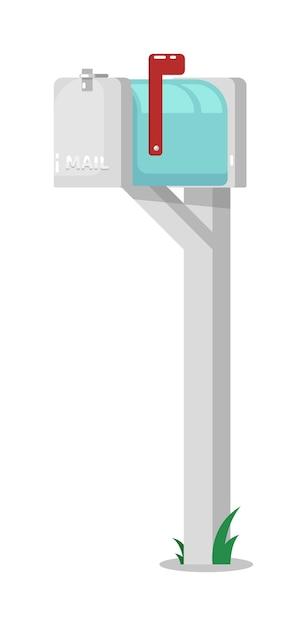 Außenbriefkasten auf säule mit erhabener flagge lokalisiert auf weiß Premium Vektoren