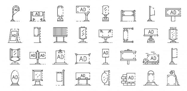 Außenwerbung icons set. umreißsatz werbungsvektorikonen im freien Premium Vektoren