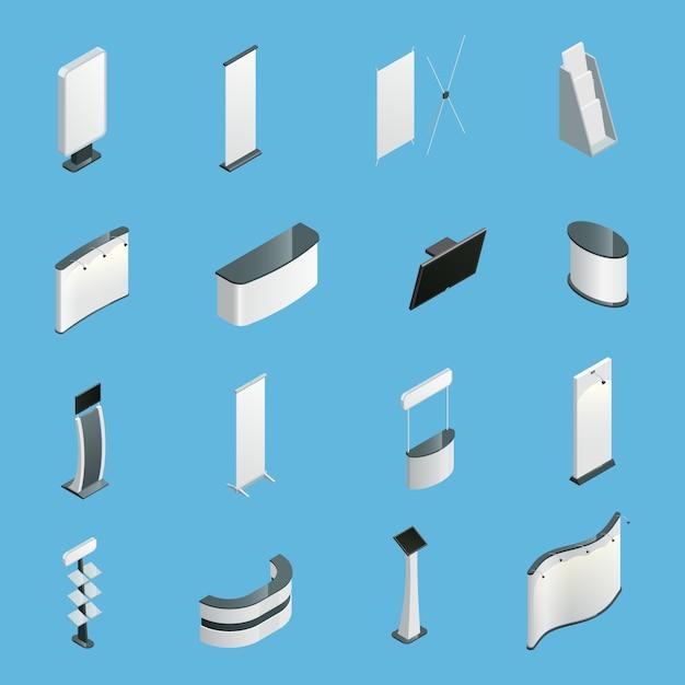 Ausstellungsförderungsstände stellten lokalisierte isometrische ikonen ein Kostenlosen Vektoren