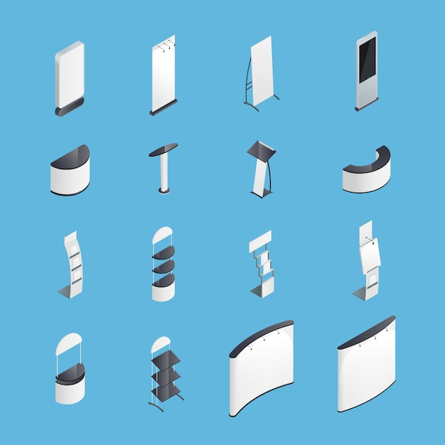 Ausstellungsstände isometrische icons set Kostenlosen Vektoren