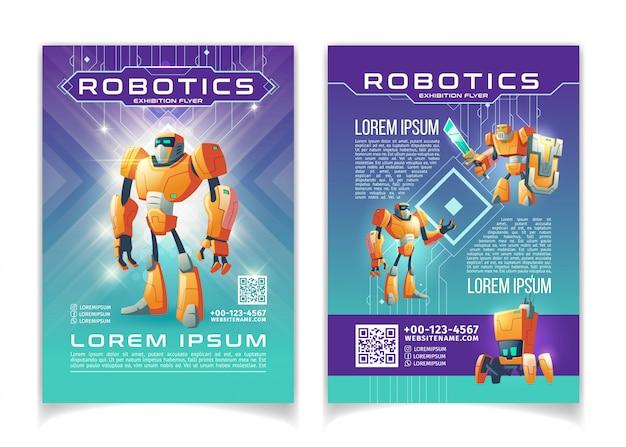 Ausstellungswerbungsfliegerkarikatur der robotik und der künstlichen intelligenzseitenschablone. Kostenlosen Vektoren