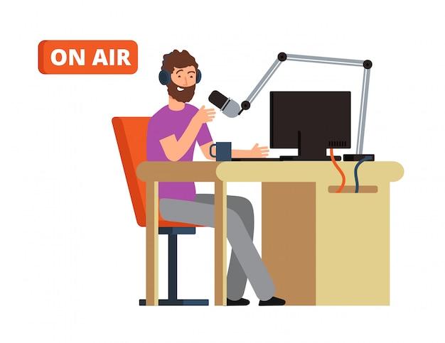 Ausstrahlung im radiostudio. sendungsperson mit mikrofon und kopfhörern. cartoon-vektor-illustration Premium Vektoren