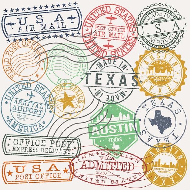 Austin texas set reise- und geschäftsstempel Premium Vektoren