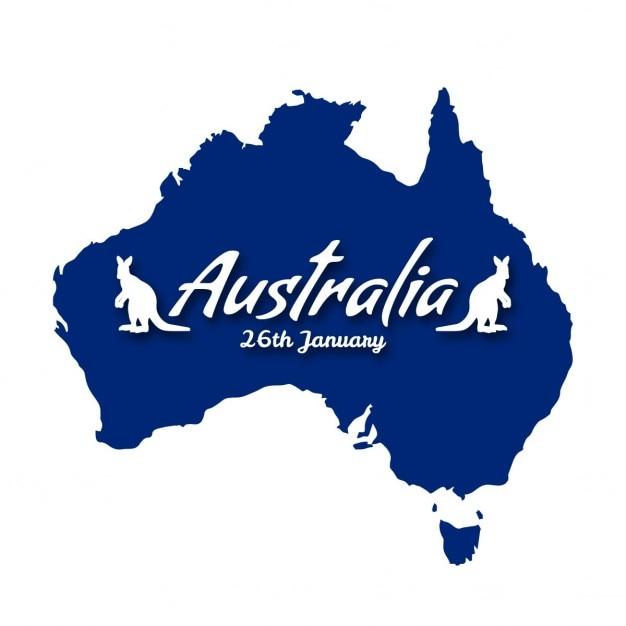 Australia day land karte mit känguru Kostenlosen Vektoren