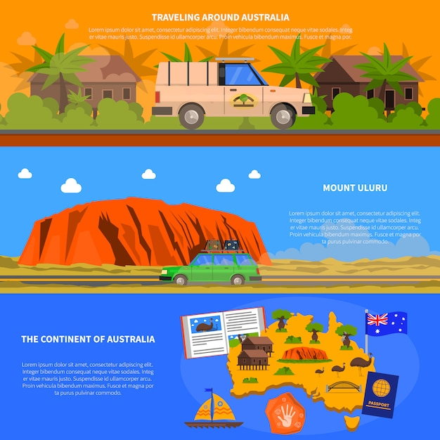 Australien-banner eingestellt Kostenlosen Vektoren