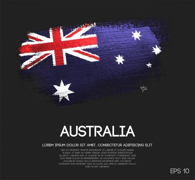 Australien-flagge gemacht vom funkeln-schein-bürsten-farben-vektor Premium Vektoren