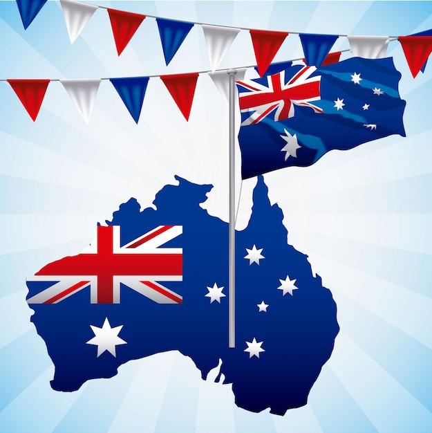 Australien-flagge winkte auf blau, mit kartenillustration Kostenlosen Vektoren