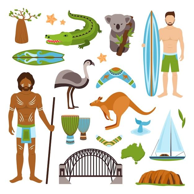 Australien icons set Kostenlosen Vektoren