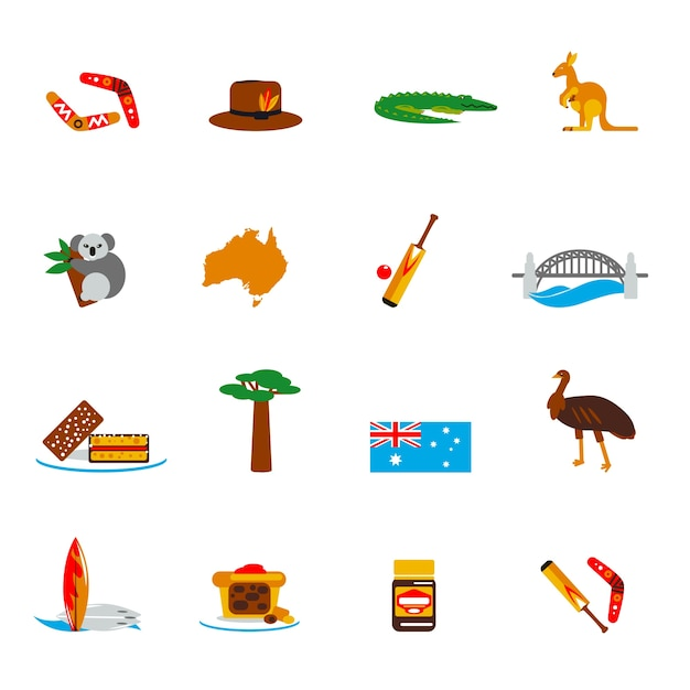Australien-ikonen flach eingestellt Kostenlosen Vektoren