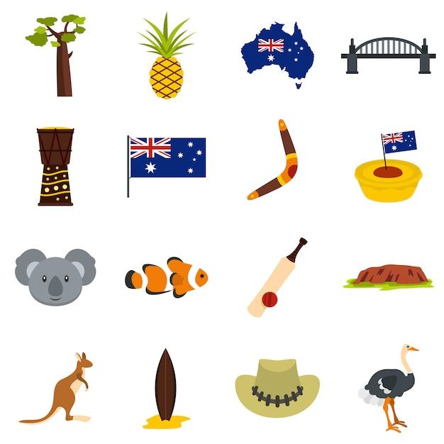 Australien-reiseikonen eingestellt in flache art Premium Vektoren