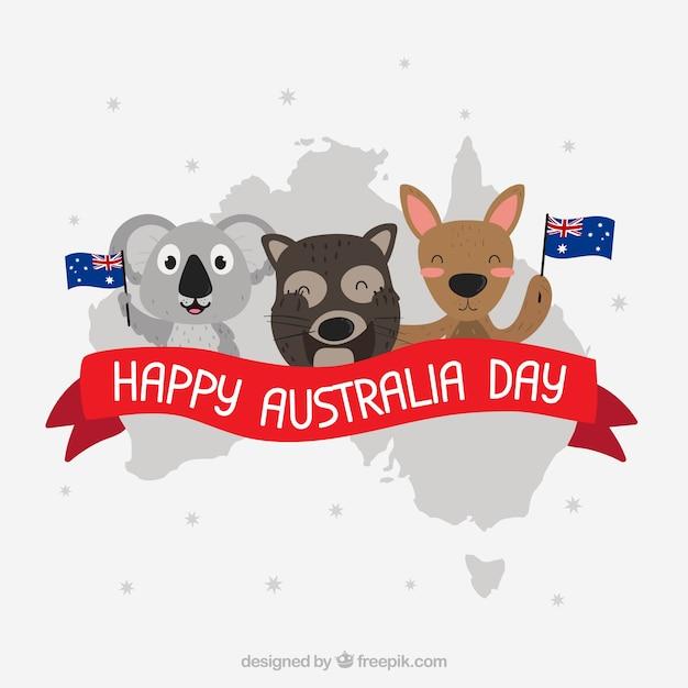 Australien-tagesentwurf mit koalas und känguru Kostenlosen Vektoren