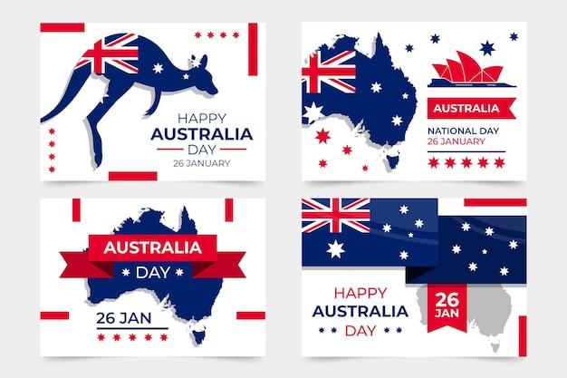 Australien-tagesgrußkartensammlung Kostenlosen Vektoren
