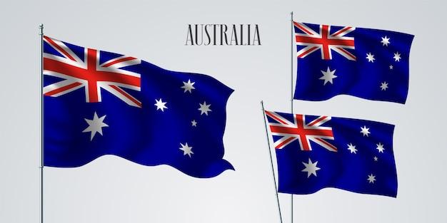 Australien winkende flaggenillustration Premium Vektoren