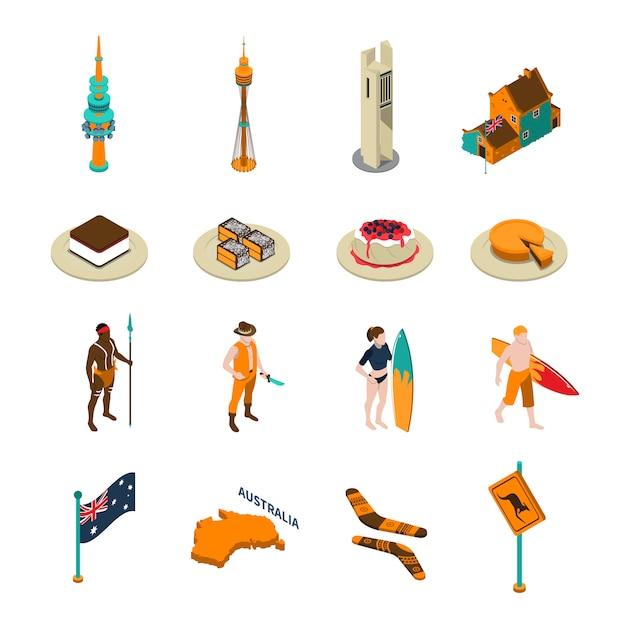 Australische touristen-anziehungskraft-isometrische ikonen eingestellt Kostenlosen Vektoren