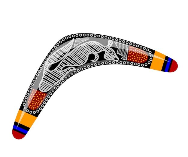 Australischer bumerang. cartoon-bumerang. bumerang mit stammeskänguru Premium Vektoren