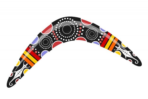 Australischer bumerang. comic bumerang tribal Premium Vektoren