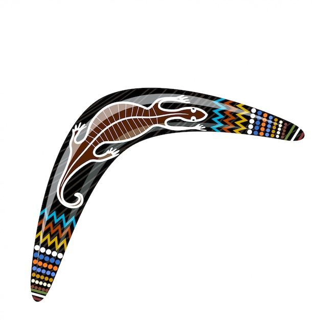 Australischer hölzerner bumerang. cartoon-bumerang mit einer eidechse. illustration der farbigen stammes- eidechse des bumerangs. vektor auf lager Premium Vektoren